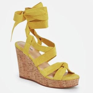 JustFab Shoes - Yellow ribbon lace up wedges